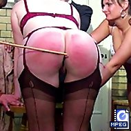 Gorgeous cruel bitch birches the ass of sorry young girl - hot pink stripes on shapely ass