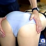 Ashamed girl gets a special sports lesson and a shameful spanking on her bared ass