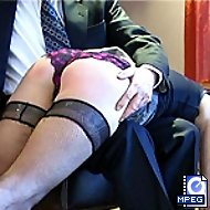 Secretary spanked hard otk in the boardroom - flaming red buttocks