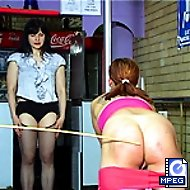Attractive girl bends over the chair with her panties down - relentless hard caning