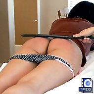 40 with a strap, bouncing bottom bare, for House-guest from Hell  Allaura Shane