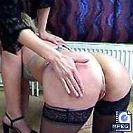 Dirty whore in lingerie gets the crop on her tight ass for wanking - deep red stripes