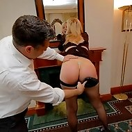 Swats with a leather paddle for perfectly pert Abigail in Giving It Up