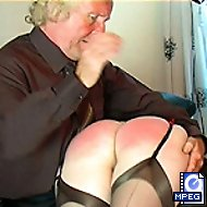 Severe spanking and caning for stocking clad miss - full ripe ass cheeks battered and bruised