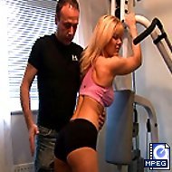 Pretty young bottom spanked crimson in the gym - cute girl in shameful spanking
