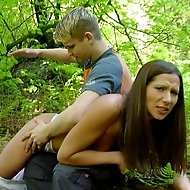 Pretty girl in the forest - stripped spanked and fucked with a dildo