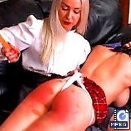 Terrified schools get their pretty asses subjected to extraordinary spanking and caning