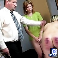 Domestic discipline with harsh canings for 2 innocent looking girls