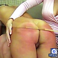 Blonde stunner gets her luscious ass spanked hard with her legs spread on the sofa