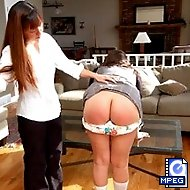 Bratty little miss Samantha gets a bare bottom spanking from her 'Daddy'.