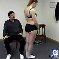 Hot burning buttocks and a humiliating sports lesson for a sexy Blonde