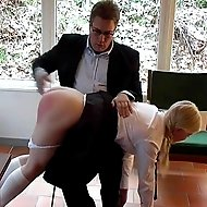Hot blonde girl severely thrashed on her luscious round ass