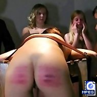 Shocking naked ass caning in front of the class - brutal stripes on quivering buttocks